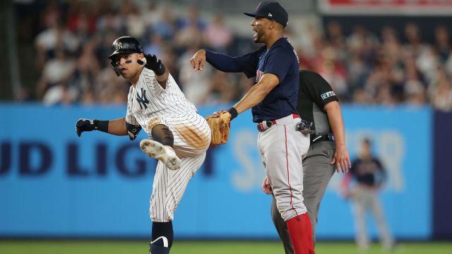 New York Yankees second baseman Rougned Odor and Boston Red Sox shortstop Xander Bogaerts