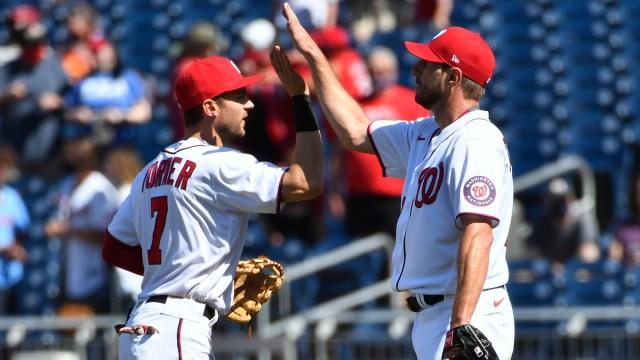 Washington Nationals Shortstop Trea Turner And Starting Pitcher Max Scherzer