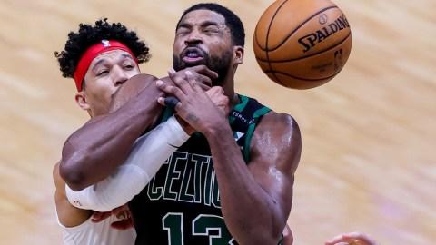 New Orleans Pelicans guard Josh Hart (3) and Boston Celtics center Tristan Thompson (13)