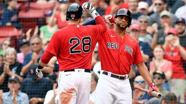 Boston Red Sox players J.D. Martinez and Xander Bogaerts