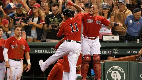 Boston Red Sox third baseman Rafael Devers and catcher Christian Vasquez
