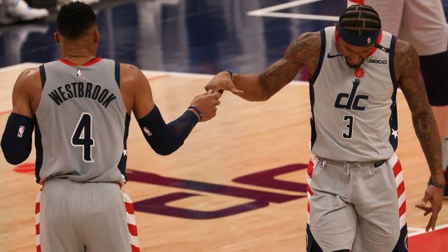 Washington Wizards guards Russell Westbrook and Bradley Beal