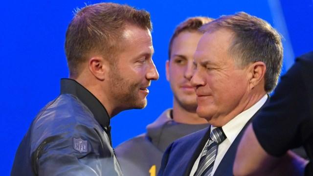 Los Angeles Rams head coach Sean McVay, New England Patriots head coach Bill Belichick