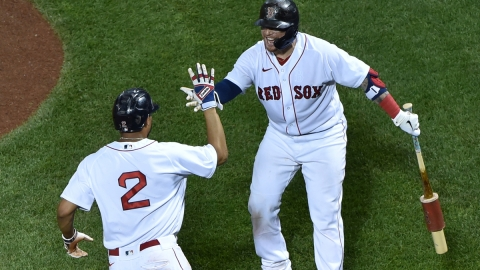 Boston Red Sox shortstop Xander Bogaerts, Christian Vazquez