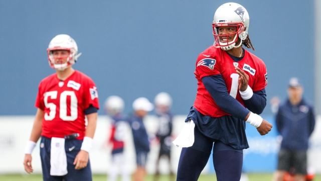 New England Patriots quarterback Mac Jones and Former NFL QB Cam Newton