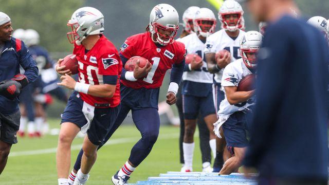 New England Patriots quarterbacks Cam Newton and Mac Jones