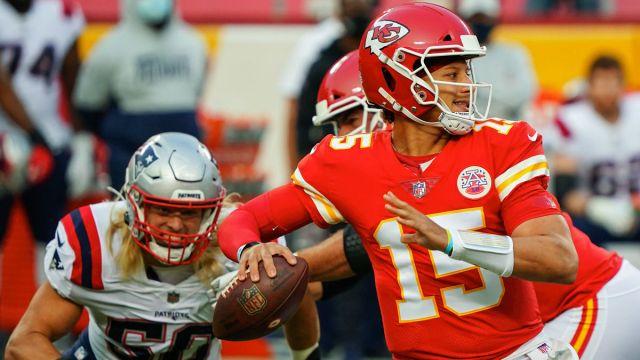 New England Patriots defensive end Chase Winovich and Kansas City Chiefs quarterback Patrick Mahomes