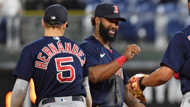 Boston Red Sox utilitymen Danny Santana, Kiké Hernández