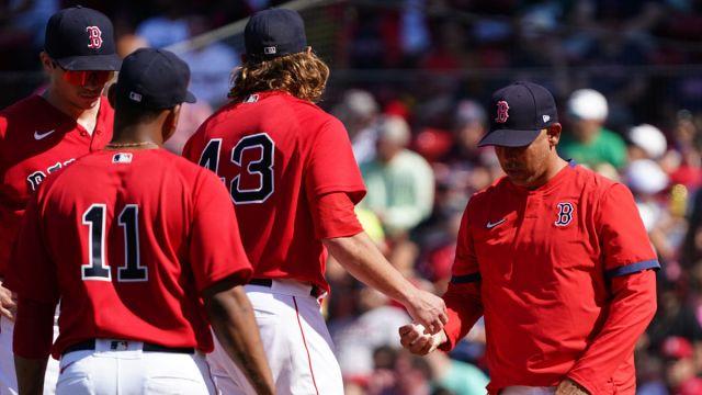 Boston Red Sox pitcher Garrett Richards and manager Alex Cora