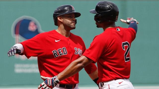 Boston Red Sox shortstop Xander Bogaerts, designated hitter J.D. Martinez