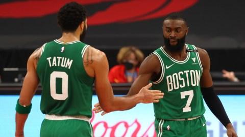 Boston Celtics forward Jayson Tatum (0) and guard Jaylen Brown (7)