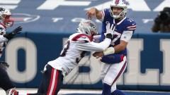 New England Patriots linebacker Josh Uche, Buffalo Bills quarterback Josh Allen