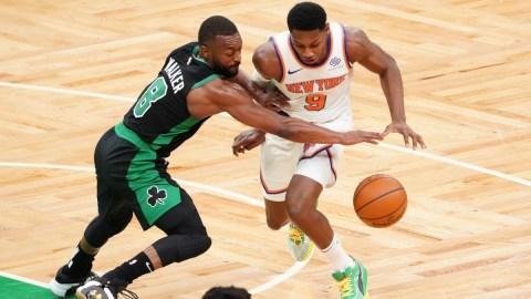 NBA free agent guard Kemba Walker (8) and New York Knicks guard RJ Barrett (9)