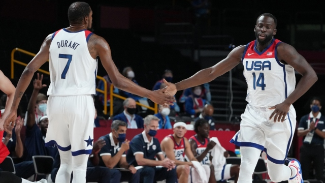 USA player Kevin Durant (7) and USA player Draymond Green (14)