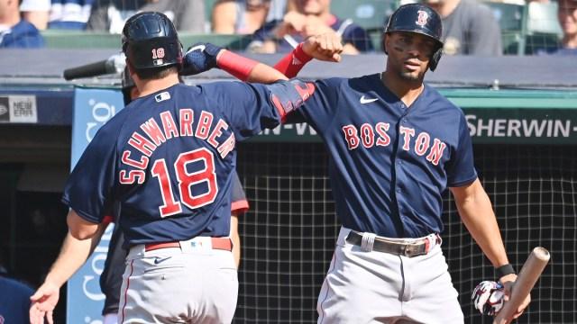 Boston Red Sox outfielder Kyle Schwarber, shortstop Xander Bogaerts