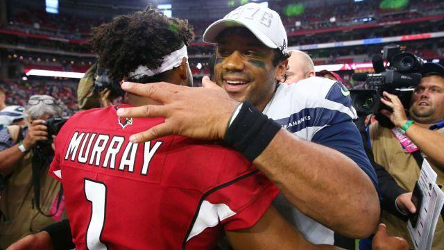 Arizona Cardinals quarterback Kyler Murray and Seattle Seahawks quarterback Russell Wilson