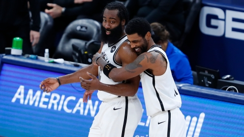 Brooklyn Nets guards Kyrie Irving and James Harden