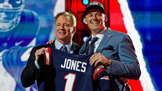National Football League commissioner Roger Goodell and New England Patriots quarterback Mac Jones
