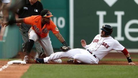 Baltimore Orioles third baseman Maikel Franco, Boston Red Sox designated hitter J.D. Martinez
