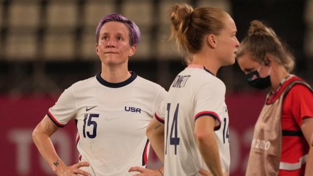 USWNT forward Megan Rapinoe and defender Emily Sonnett (right)