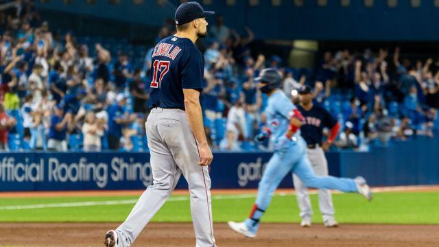 Boston Red Sox pitcher Nathan Eovaldi and Toronto Blue Jays outfielder Lourdes Gurriel Jr.