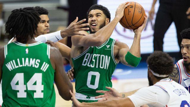 Boston Celtics center Robert Williams and forward Jayson Tatum