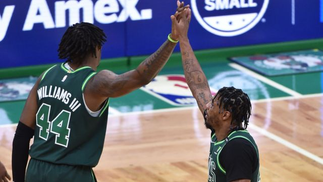 Boston Celtics center Robert Williams and guard Marcus Smart