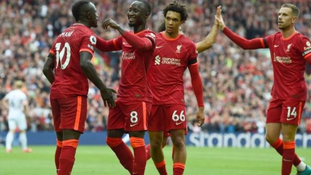Liverpool's Sadio Mane (10), Naby Keita (8), Trent Alexander-Arnold (66) and Jordan Henderson (14)
