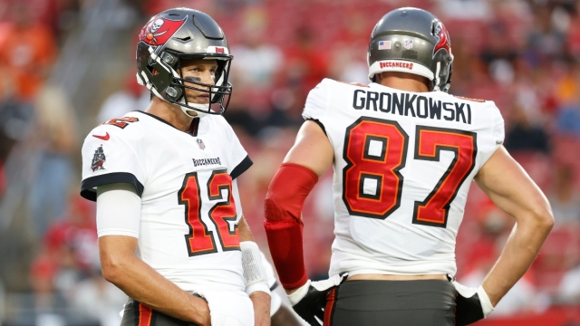 Tampa Bay Buccaneers quarterback Tom Brady (left) and tight end Rob Gronkowski