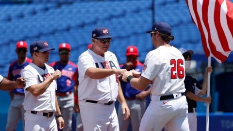 Boston Red Sox prospect Triston Casas (26) and USA Baseball manager Mike Scioscia