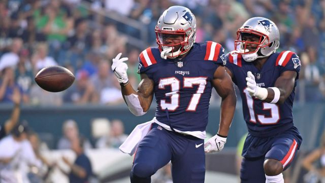 New England Patriots running back Damien Harris, receiver Nelson Agholor
