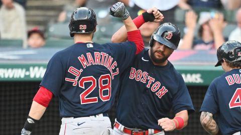 Boston Red Sox designated hitter J.D. Martinez and first baseman Kyle Schwarber