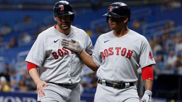 Boston Red Sox designated hitter J.D. Martinez and third baseman Rafael Devers