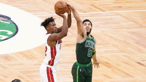 Miami Heat forward Jimmy Butler, Boston Celtics forward Jayson Tatum