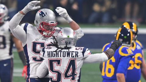 New England Patriots outside linebacker Dont'a Hightower (54) celebrates with middle linebacker Kyle Van Noy