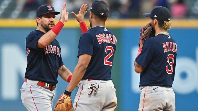 Boston Red Sox outfielder Kyle Schwarber, shortstop Xander Bogaerts and infielder Jonathan Arauz