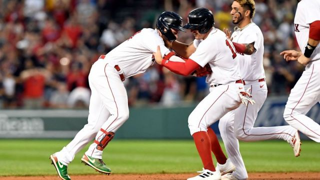 Boston Red Sox outfielders Alex Verdugo, Hunter Renfroe