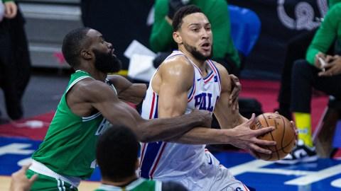 Philadelphia 76ers forward Ben Simmons, Boston Celtics' Jaylen Brown
