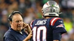 New England Patriots head coach Bill Belichick and quarterback Mac Jones