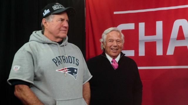 New England Patriots Head Coach Bill Belichick And Owner Robert Kraft