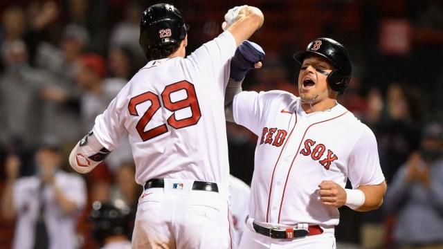 Boston Red Sox first baseman Bobby Dalbec (29) and Hunter Renfroe (10)
