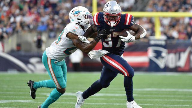 Miami Dolphins cornerback Byron Jones and New England Patriots running back Damien Harris
