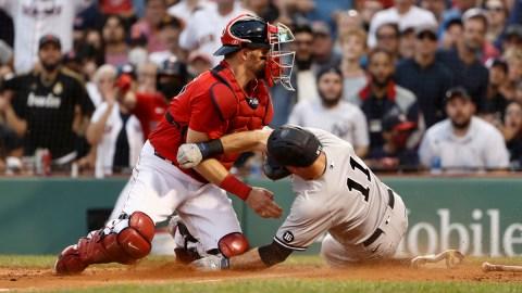 Boston Red Sox catcher Christian Vázquez, New York Yankees outfielder Brett Gardner