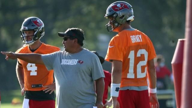 Tampa Bay Buccaneers quarterbacks Tom Brady, Ryan Griffin, quarterbacks coach Clyde Christensen