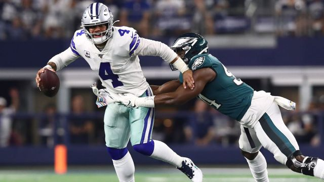 Dallas Cowboys quarterback Dak Prescott and Philadelphia Eagles defensive end Josh Sweat