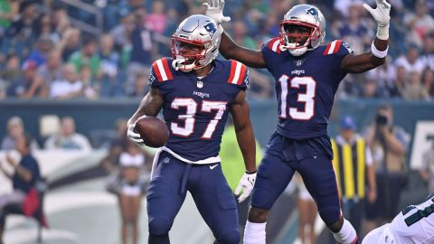 New England Patriots running back Damien Harris, wide receiver Nelson Agholor