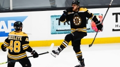 Boston Bruins winger David Pastrnak, defenseman Matt Grzelcyk