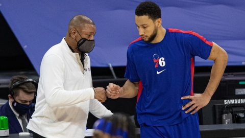 Philadelphia 76ers head coach Doc Rivers (left) and point guard Ben Simmons