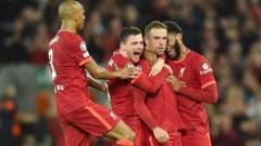 (from left to right) Liverpool's Fabinho, Andrew Robertson, Jordan Henderson and Joe Gomez