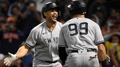 New York Yankees' Giancarlo Stanton, Aaron Judge